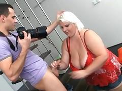 Blond fatty has porn A photographer