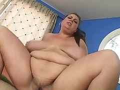 Plus-size hoochie working out and getting her clam stuffed full