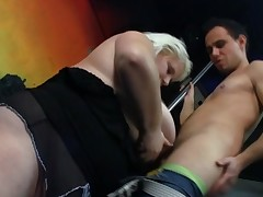 Monster breasted blonde bares and has fucked