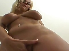 Sexy blonde enjoys as she plays with body fingering her juicy cunt before rubbing butt