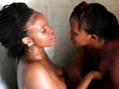 Big Tit Dark-hued Lesbians Going Rock hard In Shower
