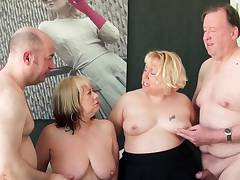 Two British mature blondes have a four-way