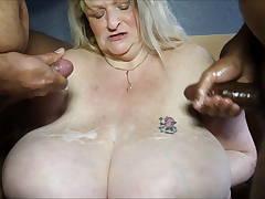 Granny gets cum on her boobs