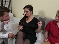 Mature teacher and two stupid strung up boys