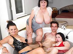 Fucking three grannies in the bathtub