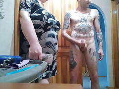 she came for money and sees me jerk off my cock