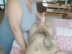 after a sole massage, she jerks off a cock