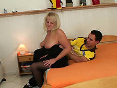 Hairy-pussy granny in stockings rails stranger's cock