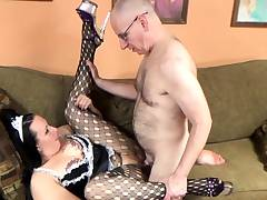 Slutty maid Selena Sky is in pantyhose and fucking a geek