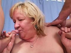 Very old busty grandma sucks and rides 2 cocks