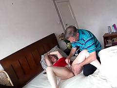 Spy View as Old Man Plays With and Fucks Curvy Girl