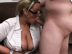 Chubby woman at work stretches legs for big cock