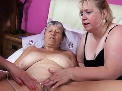Three old bbw matures play with vibrant toys