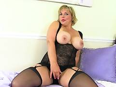 Hot milf Danielle lets her clit grow and glow with a lovemaking plaything