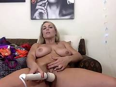 Big Boobed Blonde Wanks With A Dildo In The Bathroom