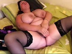 Light-haired With Natural Huge Boobs Likes Putting A Toy In Her