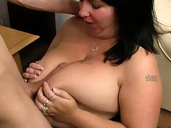 Cheating on wife with huge tits brunette babe