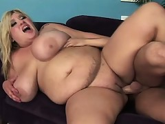 Huge boob plumper Kacey blows and receives her tits a bouncing when getting fucked