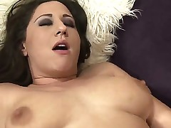 Chubby babe Vanesa enjoys taking creamy load after getting her taut pussy banged stiff
