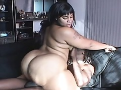 Chunky ebony girl with a fat chubby arse can't stand against a huge ebony rod