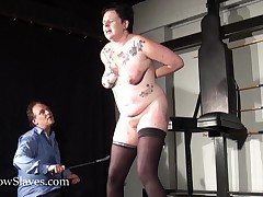 Hellpainsideside Rookie whipping and tattooed slaveslut  in basement footage of punished painwhore
