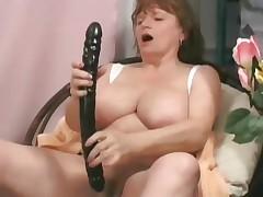Aged BBW take fat dildo and fat black shaft