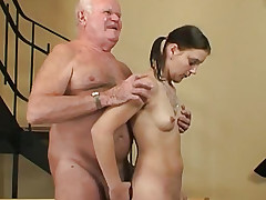The old grandfather deep-throats dick