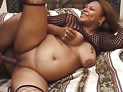 Huge woman in stockings pounding a guy