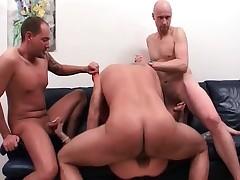 Nasty cockblowers MILF blows rock hard boner