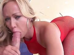 Blonde mummy Austin Taylor enjoys fat cock in her nasty hardcore femdom session