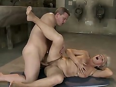 Old and crazy blonde granny Norma gets a young schlong in her hairy pussy