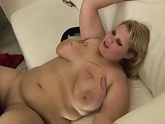Chesty fatty babe toys pussy before cockriding