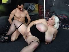 He bangs huge boobs blonde in stockings
