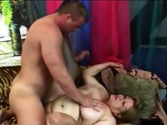 Chubby granny with huge tits likes to get drilled