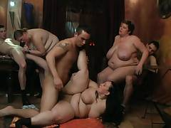 Hot bbw party sex in the fat club