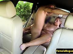 Chubby taxi babe drilled on all fours