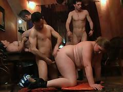 Hot gangbang party with plump wailing