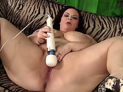 Chesty BBW babe pleasuring her pussy with toys